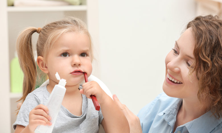 Otrok - umivanje zob